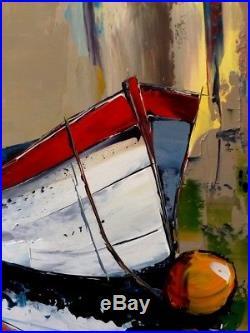 100x73cm Original JP DOUCHEZ Peinture au couteau sur toile + certificat Bretagne