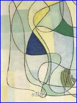 1960 Georges Wesche Peinture Art-deco Moderniste Cubiste Abstraction Forme-libre
