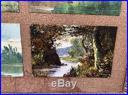 6 Tableaux Huiles Peintures Miniatures Paysages M. Juliany Pseudo GALIEN-LALOUE