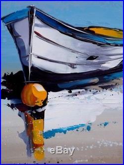 80x60cm Original JP DOUCHEZ Peinture au couteau sur toile + certificat Bretagne