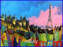 80x80cm Paris Tour Eiffel Original Unique artisteJP DOUCHEZ Peinture au couteau