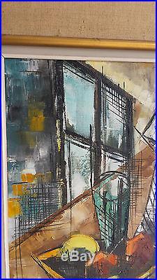 AMIOT Huile sur toile Tableau XXe Peinture Nature Morte CUBISTE Cubiste Artiste