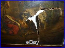 ANCIEN GRAND TABLEAU HUILE SUR TOILE HUSSARD NAPOLEON ECOLE FRANÇAISE XIXe SIGNÉ