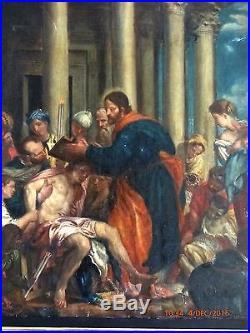 ANCIEN TABLEAU HST 18/19eme ECOLE FRANÇAISE SCENE BIBLIQUE OLD PAINTING
