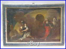 ANCIEN TABLEAU HUILE SUR TOILE SCENE MYTOHOLOGIQUE ITALIE EPOQUE XVIII è CHEVAUX