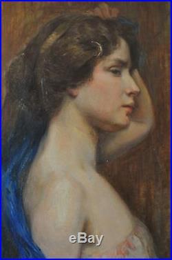 ANTIQUE PEINTURE Art Deco 1900 Signée L. VITTON PORTRAIT FEMME épaule NU MUCHA