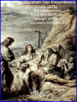 Abraham Van Diepenbeeck 1596-1675. Grande & Puissante Peinture. La Lamentation
