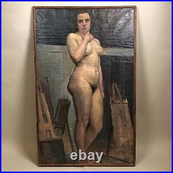 Académie de nu, femme dans un atelier