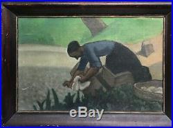 Adolphe Marie Beaufrere tableau breton pont-aven lavandiere gauguin serusier