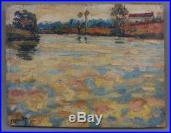 Aimé VALLAT huile sur toile étang / post impressionnisme / école de Crozant