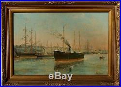 Albert Jaboneau, 1890, Grosse Cote! Le Havre, Navires dans l'Avant-Port