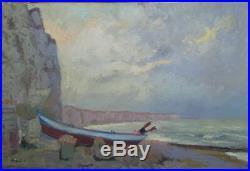 Albert MALET (1905-1986) huile/toile Falaises Etretat