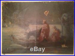Alexandre BERTIN XIXeme La Fuite en Egypte Huile sur toile 19ème A restaurer