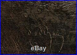 Alfred GODCHAUX tableau huile marine scène nocturne pêche port bateau émile 19è