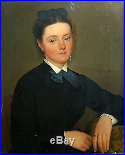 Alphonse Colas Portrait de femme huile sur toile XIXème siècle