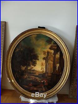 Ancien Huile sur Toile HST ruines animés fin XVIII début XIX siècle