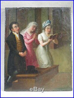 Ancien Petit Tableau Huile Sur Toile L'action De Grace Epoque Directoire Priere