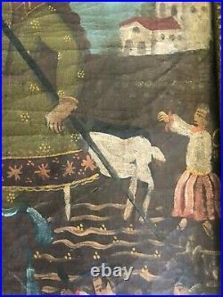 Ancien Tableau 19 Eme Huile Sur Toile