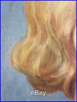 Ancien Tableau Femme à la Robe Bleue Peinture Huile Antique Oil Painting