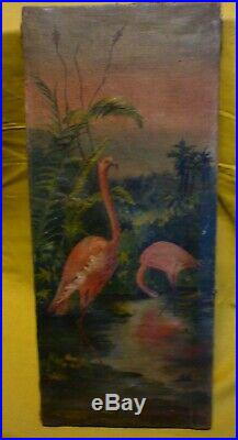 Ancien Tableau Huile Sur Toile Hst Flamants Roses Oiseau Exotique