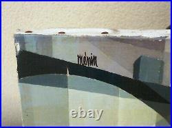 Ancien Tableau Huile Sur Toile Passants Sous La Pluie Signature Roger Menin