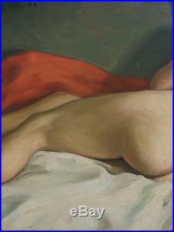 Ancien Tableau Huile Sur Toile Portrait Femme Nue Feminin 1943 Impressionnisme