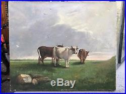 Ancien Tableau Huile Sur Toile Vaches Ferme Planquette XIXEME