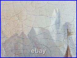 Ancien Tableau Jour de Fête à la Montagne Peinture Huile Oil Painting Dipinto