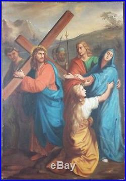 Ancien Tableau Le Portement de Croix Peinture Huile Antique Oil Painting