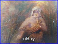 Ancien Tableau Moïse Sauvé des Eaux Peinture Huile Antique Oil Painting