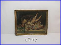 Ancien Tableau Peinture Huile Hst Nature Morte Chasse Gibier Signe C R Charles