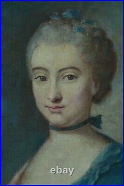 Ancien Tableau Portrait Louis XV jeune femme courtisane tenant un bouquet huile
