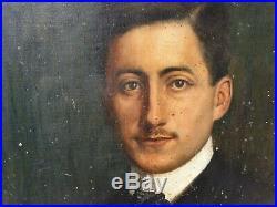 Ancien Tableau, Portrait, Peinture, Huile Sur Toile, Signe, Cadre Bois Dore, Homme