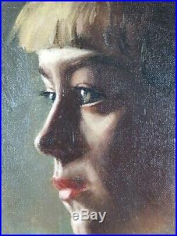 Ancien Tableau Portrait de Jeune Femme Peinture Huile Oil Painting Ölgemälde