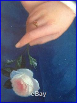 Ancien Tableau RASTOUX JULES XIXe Portrait de Jeune Femme Rose blanche 19ème