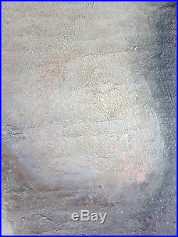 Ancien Tableau Scène Symboliste Peinture Huile Toile Antique Oil Painting