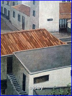 Ancien Tableau Ville Industrielle Peinture Huile Antique Oil Painting
