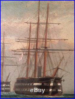 Ancien Tableau XIXe Marine Flotte Bateau Vaisseaux Anglais Huile sur toile Signé