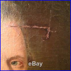 Ancien Tableau XVIIIe Portrait d'un Noble Huile sur Toile 18th