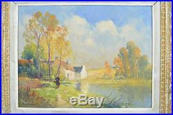 Ancien Tableau école bretonne Paysage animé Bord de Lac étang Dumont hst cadre