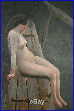 Ancien tableau HST Nu féminin au bord de l'eau d'après Raoul Henri Bessede XIXe