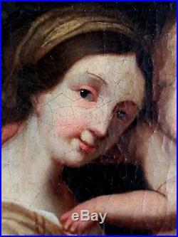 Ancien tableau, HST, Vierge à l'enfant, St Jean Baptiste, école italienne, XVIIe