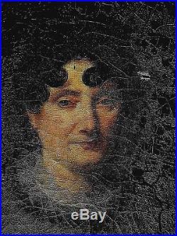 Ancien tableau HST portrait dame de qualité Bourgeoisie vers 1800 époque Empire
