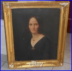Ancien tableau XIX è huile sur toile Portrait Femme Empire Restauration
