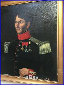 Ancien tableau XIXe Grand Portrait Militaire Officier Légion Honneur Huile toile