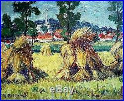 Ancien tableau paysage les moissons signé Yvonne DELDICQUE (1895-1977)