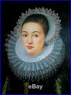 Ancien tableau, portrait de femme à la fraise goût du XVIIème siècle signé XXème