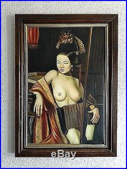 Ancien tableau, portrait de femme asiatique Geïsha seins Nu signé érotisme XXème
