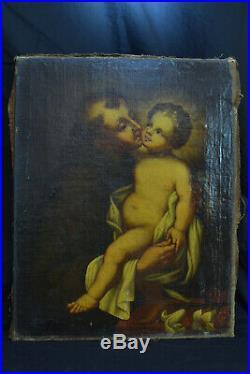 Ancien tableau religieux Portrait Saint Antoine enfant Jésus hst baroque17e rare