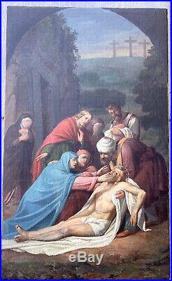 Ancienne Huile toile peinture tableau XIX 19TH